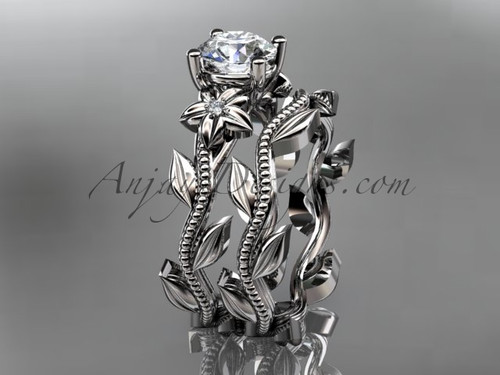 Unique platinum diamond floral wedding ring, engagement set ADLR238S