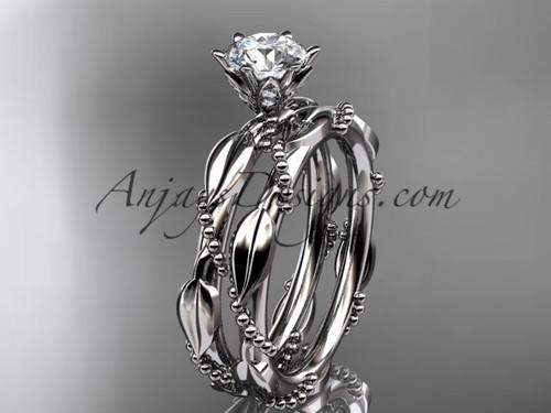 14k white gold diamond vine and leaf wedding ring, engagement set ADLR178S