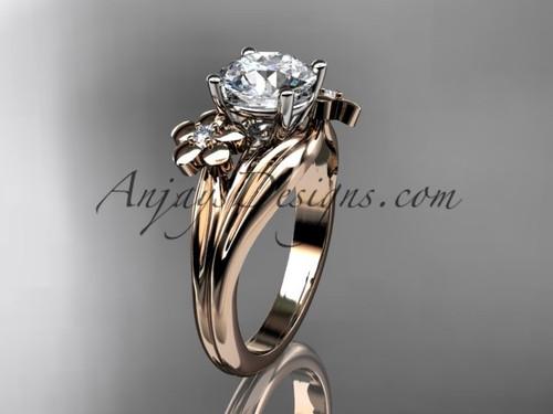 14kt rose gold diamond leaf and vine wedding ring, engagement ring ADLR159