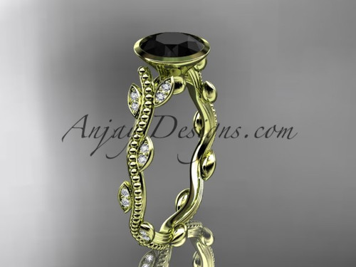 14k yellow gold diamond leaf and vine wedding ring, engagement ring with  Black Diamond center stone ADLR33