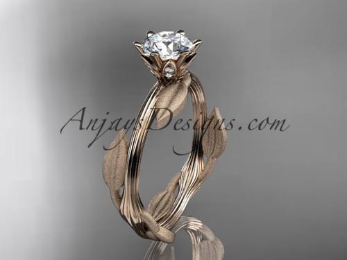 Unique 14k rose gold leaf and vine engagement ring, wedding ring ADLR343