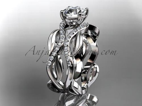 """14kt white gold diamond leaf and vine wedding set, engagement set with a """"Forever One"""" Moissanite center stone ADLR264S"""