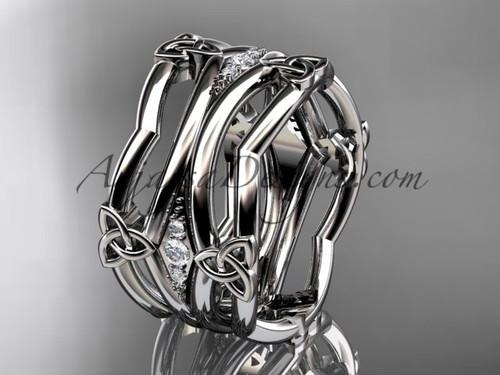 platinum diamond celtic trinity knot wedding band,  triquetra ring, engagement  ring CT7351B