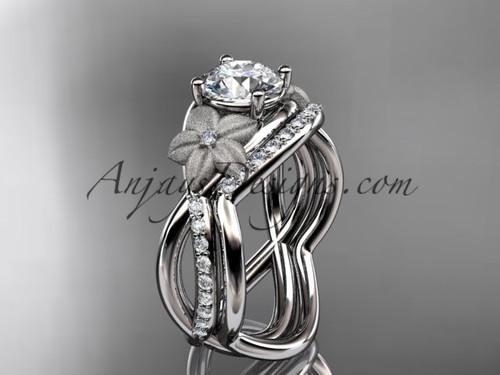 platinum diamond leaf and vine wedding ring, engagement set ADLR90S