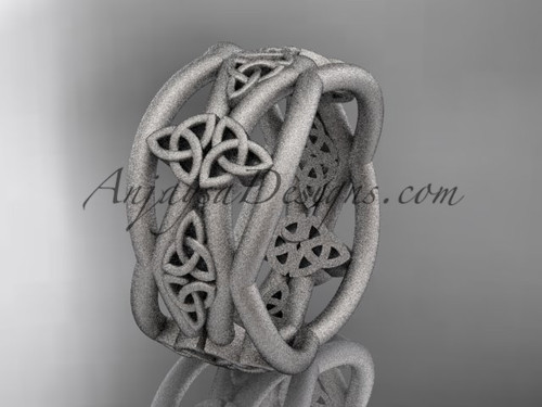 White Matte Finish Gold Celtic Unusual Wedding Band CT7519G