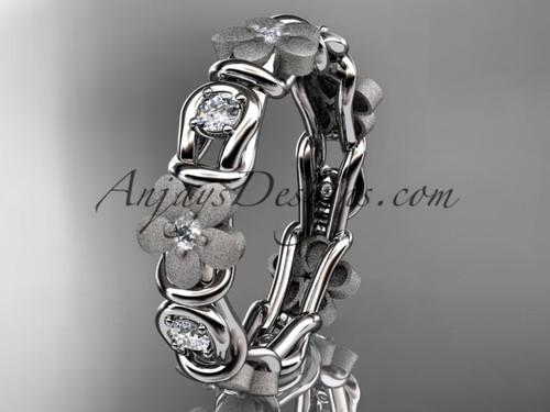 14kt white gold diamond flower wedding ring, engagement ring, wedding band ADLR197B