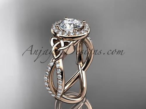 14kt rose gold diamond celtic trinity ring,  triquetra ring,  Irish engagement ring CT7374