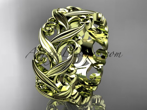14kt yellow gold diamond leaf and vine wedding ring, engagement ring, wedding band ADLR49B