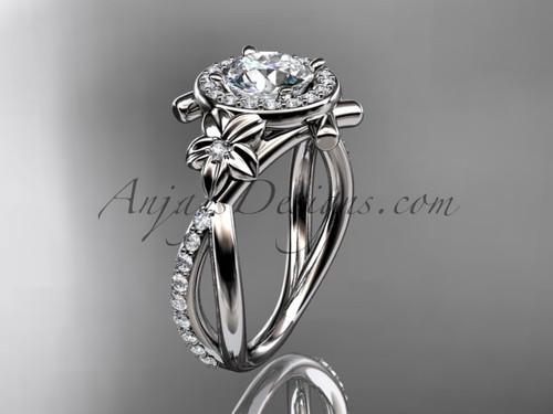14kt white gold diamond leaf and vine wedding ring, engagement ring ADLR89