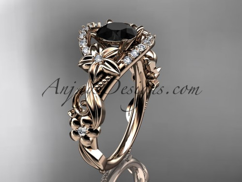 Flower Black Diamond Rose Gold Engagement Ring ADLR211S