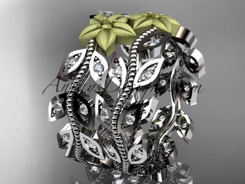 14kt two-tone gold diamond flower, leaf and vine wedding ring, engagement set, wedding band ADLR162B 1