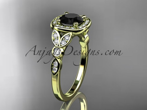 14kt yellow gold diamond leaf and vine wedding ring, engagement ring with a Black Diamond center stone ADLR179
