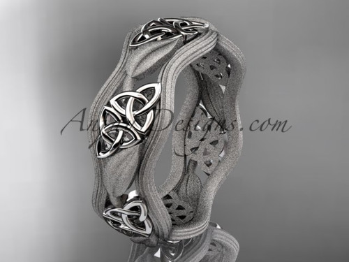 14kt white gold celtic trinity knot wedding band, engagement  ring CT7504GM