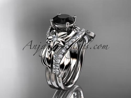 Unique 14k white gold diamond flower, leaf and vine wedding ring, engagement set with a Black Diamond center stone ADLR224S