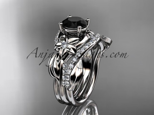 Flower Engagement Ring with Wedding Band Black Diamond Ring