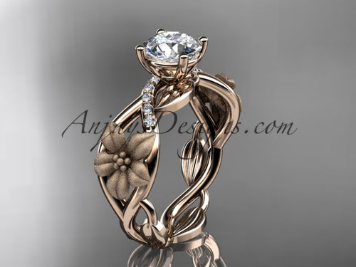 """Unique 14kt rose gold diamond floral leaf and vine wedding ring, engagement ring with a """"Forever One"""" Moissanite center stone ADLR270"""