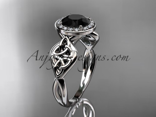 14kt white gold diamond celtic trinity knot wedding ring, engagement ring with a Black Diamond center stone CT7219