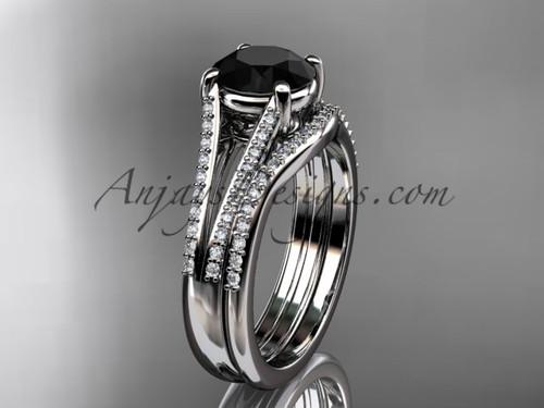 14kt white gold diamond unique engagement set, wedding ring with a  Black Diamond center stone ADER108S