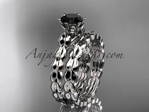platinum diamond vine and leaf wedding ring, engagement set with a Black Diamond center stone ADLR35S