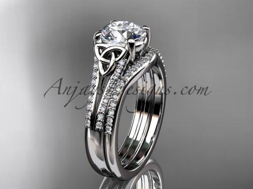 platinum celtic trinity knot engagement ring , diamond wedding ring, engagement set CT7108S