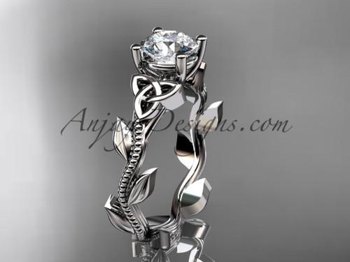 Celtic Engagement Ring, Platinum Leaf Wedding Ring CT7238