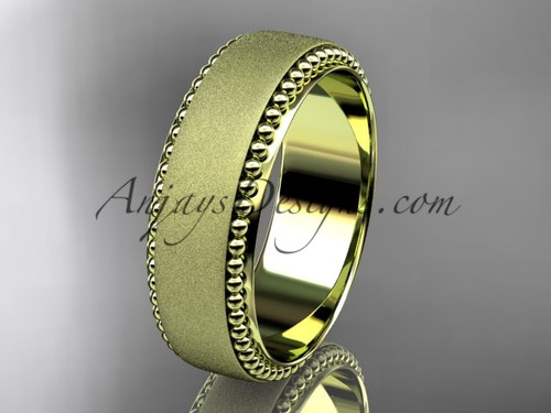 14kt yellow gold matte finish classic wedding band, engagement ring ADLR380G