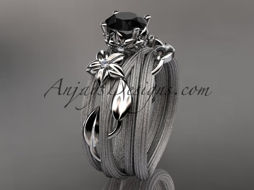 Floral Bridal Set, White Gold Black Diamond Ring ADLR253