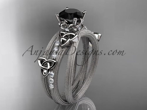 14kt white gold diamond celtic trinity knot wedding ring, engagement ring with a Black Diamond center stone CT7329