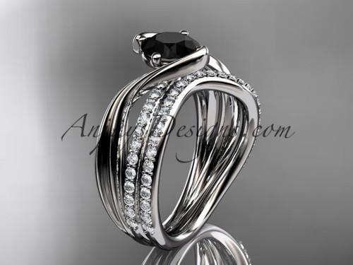 platinum diamond leaf and vine wedding ring, engagement set with a Black Diamond center stone ADLR78S