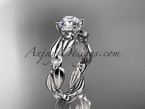 Moissanite Ring - 14kt White Gold Leaf Bridal Ring ADLR58