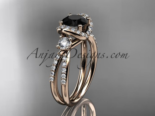 14kt rose gold diamond unique engagement ring, wedding ring with a Black Diamond center stone ADER146