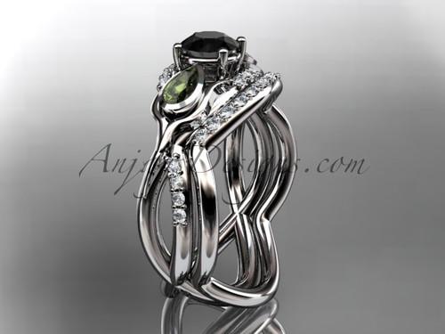 Unique 14kt white gold diamond tulip flower, wedding set, leaf and vine engagement set with a Black Diamond center stone ADLR226