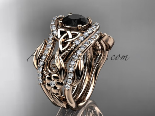 14kt rose gold diamond celtic trinity knot wedding ring, engagement ring with a Black Diamond center stone  and double matching band CT7211S