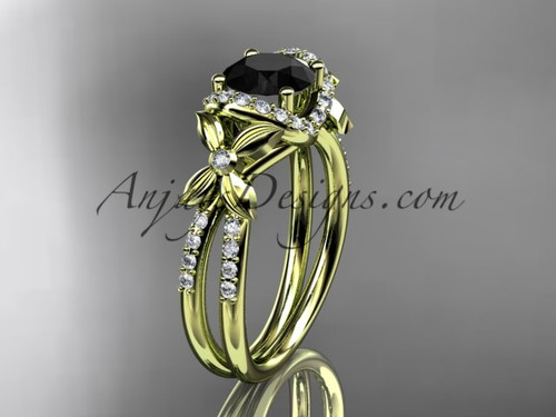 14kt yellow gold diamond floral wedding ring, engagement ring with a Black Diamond center stone ADLR140