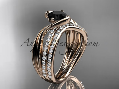 14kt rose gold diamond leaf and vine wedding ring, engagement set with a Black Diamond center stone ADLR78S