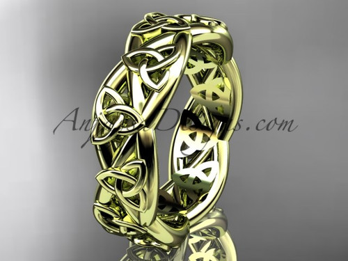 Wedding Bands for Women, Yellow Gold Triquetra Ring CT7392G
