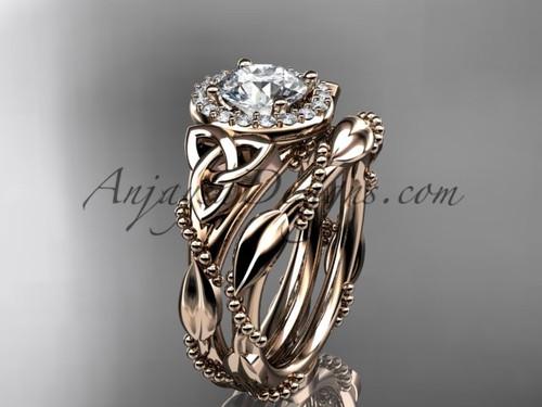 14kt rose gold diamond celtic trinity knot wedding ring, engagement set CT7328S