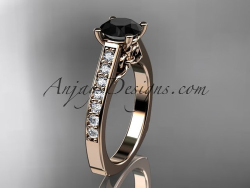 14kt rose gold diamond unique engagement ring, wedding ring with a Black Diamond center stone ADER114