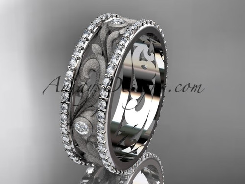 14kt white gold diamond engagement ring, wedding band ADLR414BA