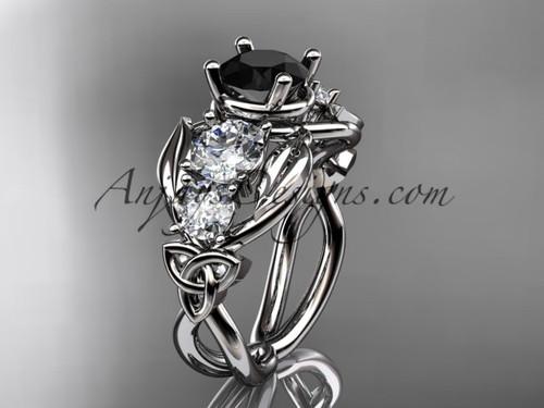 14kt White Gold Welsh Black Diamond Engagement Ring CT769