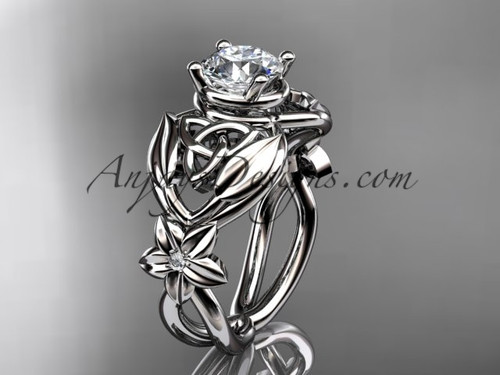 """platinum diamond celtic trinity knot  wedding ring, engagement ring with a """"Forever One"""" Moissanite center stone CT7501"""