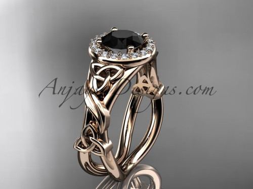 14kt rose gold diamond celtic trinity knot wedding ring, engagement ring with a Black Diamond center stoneCT7302