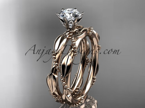 "14k rose gold diamond vine and leaf wedding ring, engagement set with a ""Forever One"" Moissanite center stone ADLR178S"