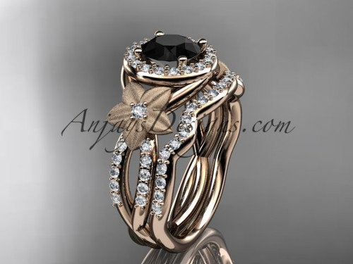 14kt rose gold  diamond floral wedding ring, engagement set with a Black Diamond center stone ADLR127S