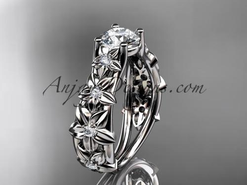 14kt white gold diamond floral wedding ring, engagement ring ADLR149