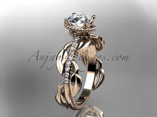 Unique 14k rose gold diamond leaf and vine diamond engagement ring ADLR231