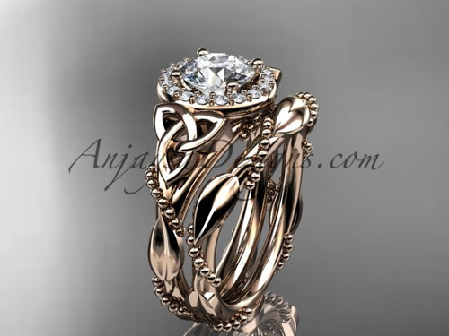 """14kt rose gold diamond celtic trinity knot wedding ring, engagement set with a """"Forever One"""" Moissanite center stoneCT7328S"""