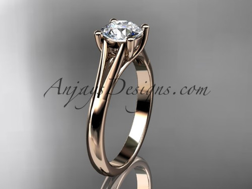 """14kt rose gold unique engagement ring, wedding ring, solitaire ring with a """"Forever One"""" Moissanite center stone ADER109"""