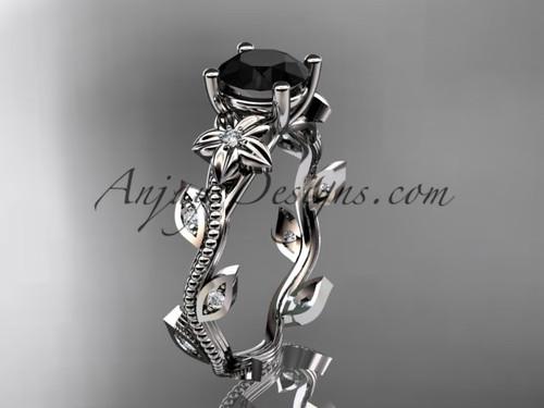 White Gold Flower Black Diamond Ring For Women ADLR151