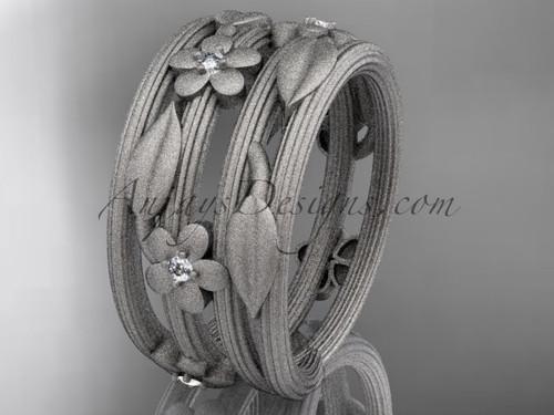 14kt white gold diamond leaf and vine, floral wedding band ADLR242B